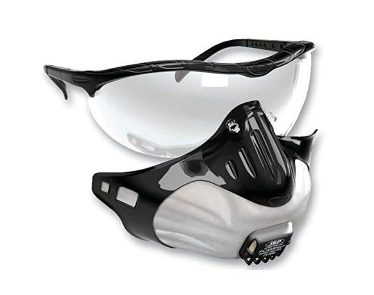 Aizsargbrilles + 3 respiratori FFP2V Filterspec® Black/Clear
